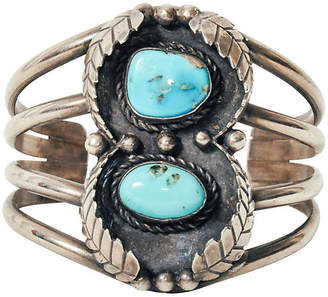 One Kings Lane Vintage Navajo-Style Turquoise & Sterling Cuff - Maeven