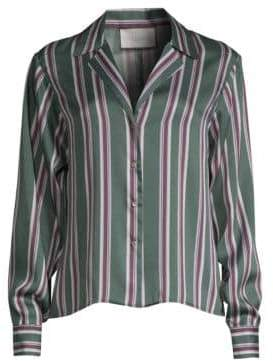 Alexis Samwell Striped Satin Button Shirt