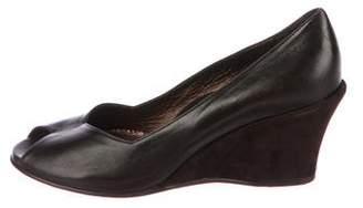 Taryn Rose Leather Peep-Toe Wedges