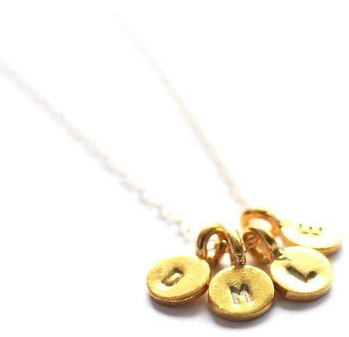 Vivien Frank Designs Tiny gold initial necklace - four charms
