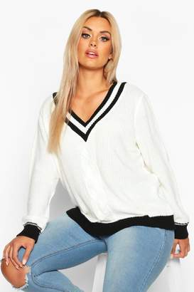 boohoo Plus Contrast Oversized Cable Knit Jumper
