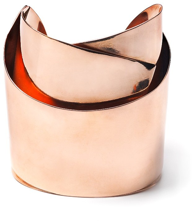 Alexis Bittar Rose Gold Sculptural Ribbon Cuff Bracelet