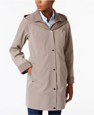 Jones New York Two-Toned A-Line Hooded Raincoat