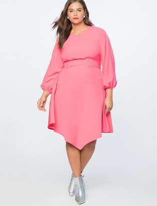 Asymmetrical Fit + Flare Dress with Belt