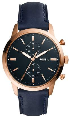Fossil Men's 'Townsman' Quartz Stainless Steel and Leather Casual Watch, Color (Model: FS5436)
