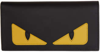 Fendi Black and Yellow Bag Bugs Continental Wallet