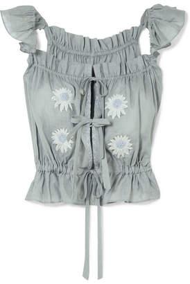 Innika Choo Embroidered Linen Top - Gray
