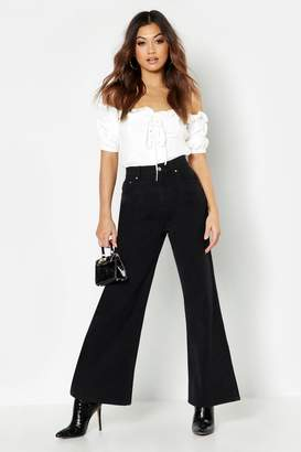 boohoo Stonewashed Rigid Wide Leg Jean