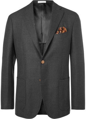 Boglioli Grey K-Jacket Slim-Fit Mélange Virgin Wool Blazer