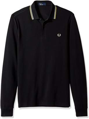 Fred Perry Men's Long Sleeve Twin Tipped Shirt, Black