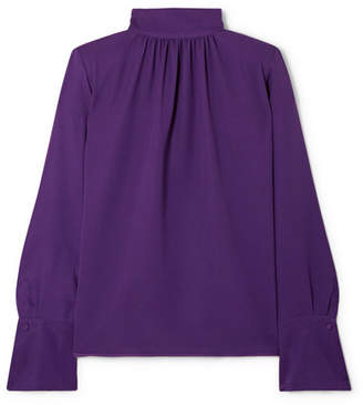 Marc Jacobs Silk-crepe Turtleneck Blouse - Purple