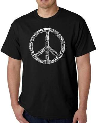 Pop Culture Los Angeles pop art Big Men's t-shirt - the word peace in 77 languages