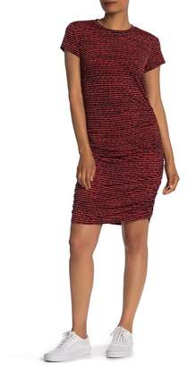 Kenneth Cole New York Striped Ruched Seam Dress