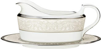 """Noritake Silver Palace"""" Gravy Boat with Stand"""