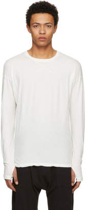 Isabel Benenato White Long Sleeve Cross Stitch T-Shirt
