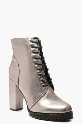 boohoo Metallic Block Heel Hiker Boots