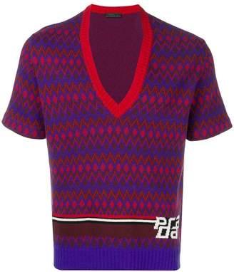 Prada V-neck intarsia logo sweater