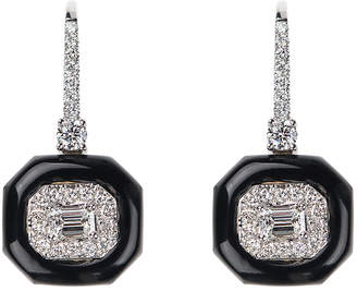 Nikos Koulis Oui 18k White Gold Diamond & Black Enamel Drop Earrings