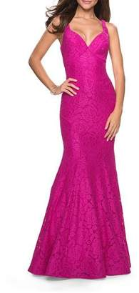 La Femme V-Neck Sequined Stretch Lace Mermaid Gown with Strappy-Back