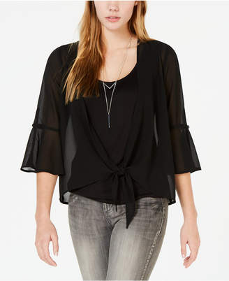 BCX Juniors' Layered-Look Tie-Front Top with Necklace