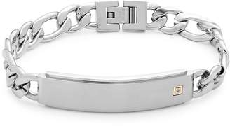 Lotus Men's Diamond and Stainless Steel Bar Bracelet