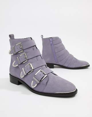Office Archive four buckle lilac suede ankle boots