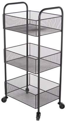 DecMode Decmode Contemporary 29 X 14 Inch Iron Mesh 3-Tiered Basket Cart, Black