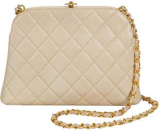 One Kings Lane Vintage 1990s Chanel Beige Quilted Kiss Lock Bag - Vintage Lux