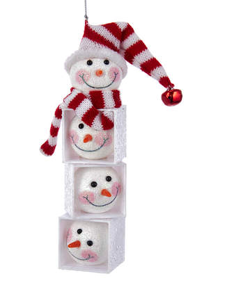 Kurt Adler 6.25In Snowman Head Block Ornament