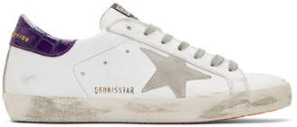 Golden Goose White and Purple Superstar Sneakers