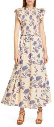 Sea Odette Floral Flutter Sleeve Midi Dress