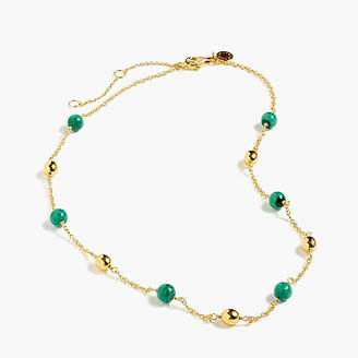 J.Crew Demi-fine 14k gold-plated malachite beaded necklace
