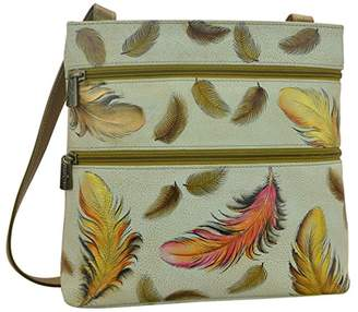 Anuschka Women's Genuine Leather Shoulder Bag | Compact Crossbody Travel Organizer | Hand Painted Original Artwork | Model 447 | Floating Feathers Ivory