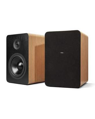 Shinola Wooden Bookshelf Speakers with Bluetooth (Set of Two), Natural Oak Finish
