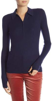 Frame Short Sleeve Partial Front Zip Sweater
