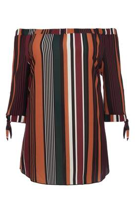 Quiz Curve Black Green And Terracotta Tunic Dress