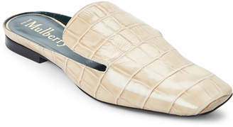 Mulberry Ivory Croc Embossed Loafer Mules