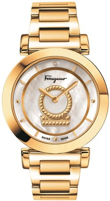 Salvatore Ferragamo Minuetto Stainless Steel, Mother Of Pearl & Diamond Watch