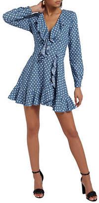 Missguided Polka Dot Wrap-Around Cotton Dress