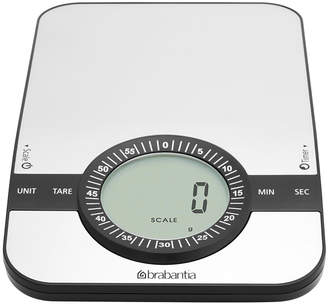 Brabantia Digital Kitchen Scales with Timer - Matt Steel - Rectangular