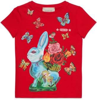 Gucci Kids Children's T-shirt with rabbit print