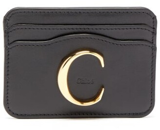 Chloé The Logo Plaque Leather Cardholder - Womens - Black
