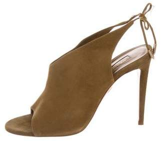 Aquazzura Suede Peep-Toe Sandals