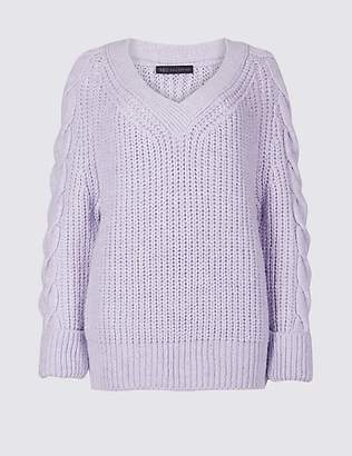 M&S Collection Cable Knit Sleeve V-Neck Jumper