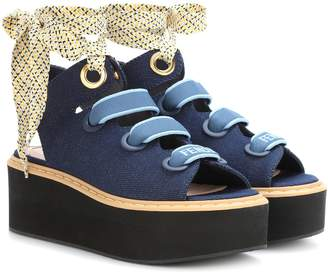 Fendi Denim platform sandals