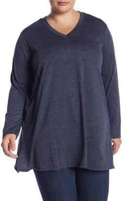 Joe Fresh Marled V-Neck Long Sleeve Tunic (Plus Size)