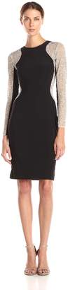 Xscape Evenings Women's Short Ity Beaded Long Sleeve Dress