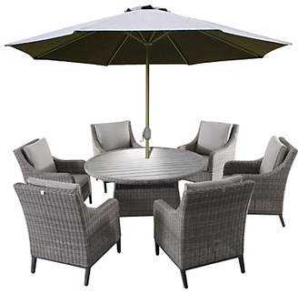 LG Electronics Outdoor Copenhagen 6 Seater Garden Dining Table and Chairs Set with Parasol