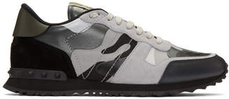 Valentino Black and Grey Garavani Camo Rockrunner Sneakers