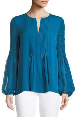 Elie Tahari Romeo Silk Balloon-Sleeve Blouse